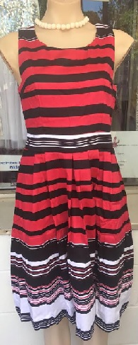 Red White Black Stripe Cotton Dress S10,12